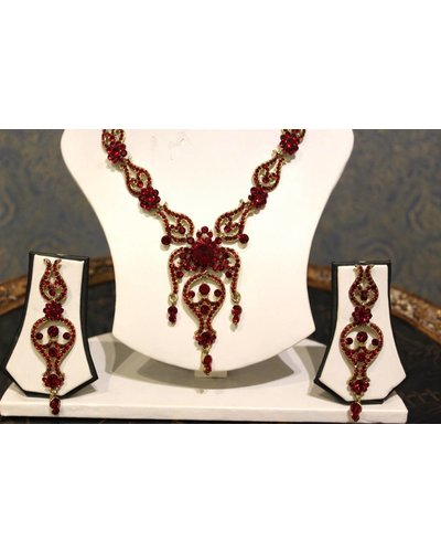 Deep Red and Gold Necklace Set