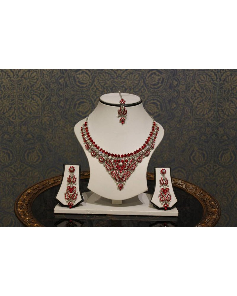 Bright Red and Silver Necklace Set