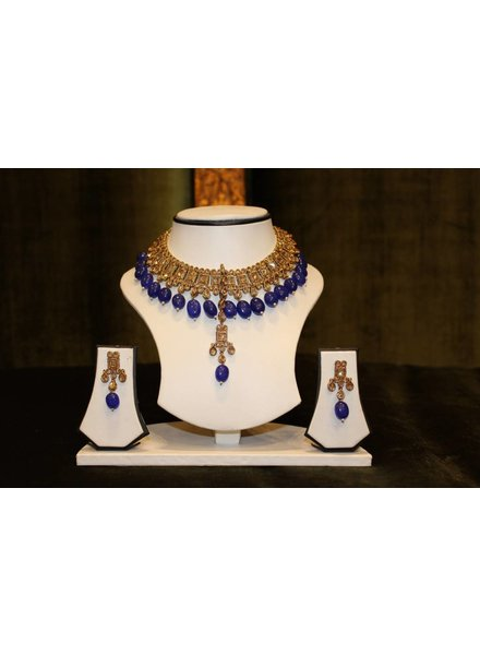 Gold and Blue Drop Necklace Set