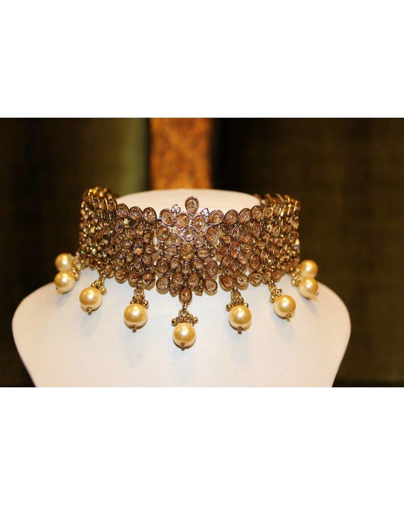 Gold Choker Set w/ Star Earrings