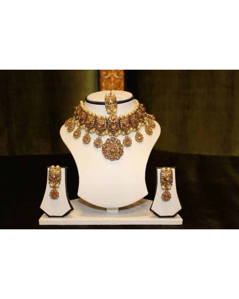Gold Necklace Set with big drop earrings