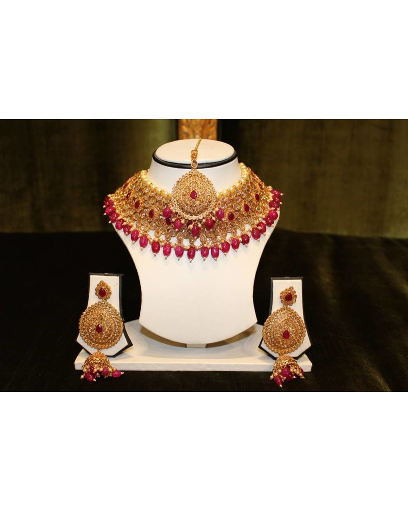 Gold and Pink Necklace Set w/ zumka earrings