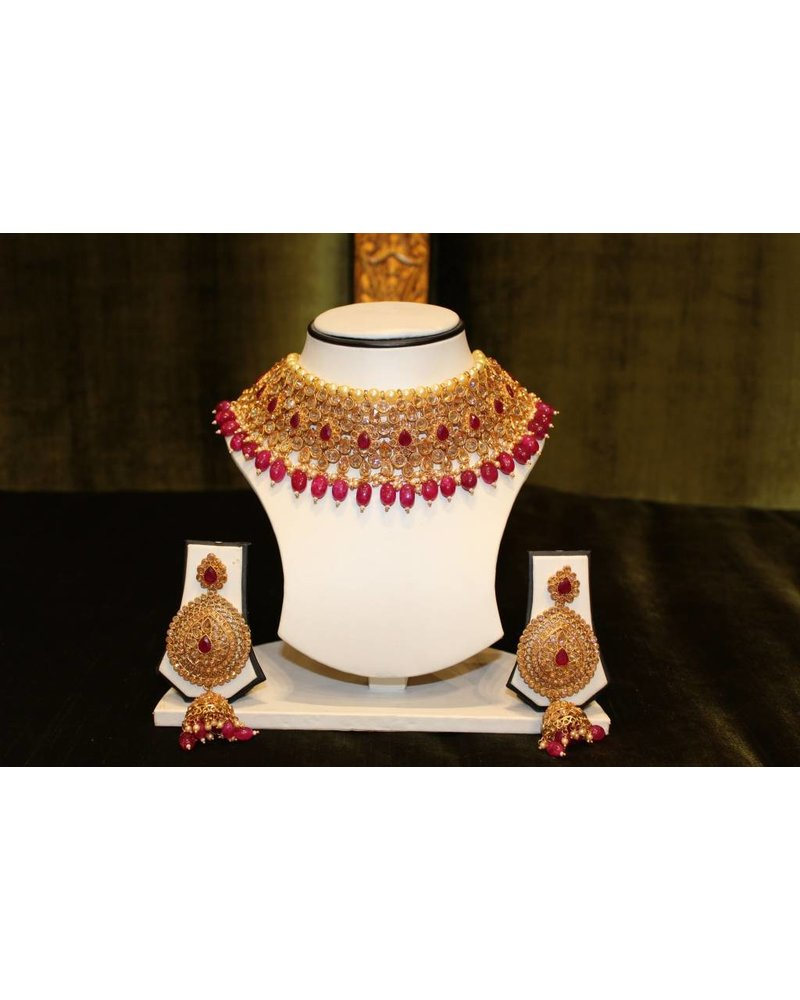 Gold and Pink Necklace Set with zumka earrings
