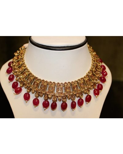 Gold and Pink Drop Necklace Set