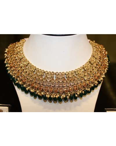 Green and Gold Necklace Set w/ zumka earrings