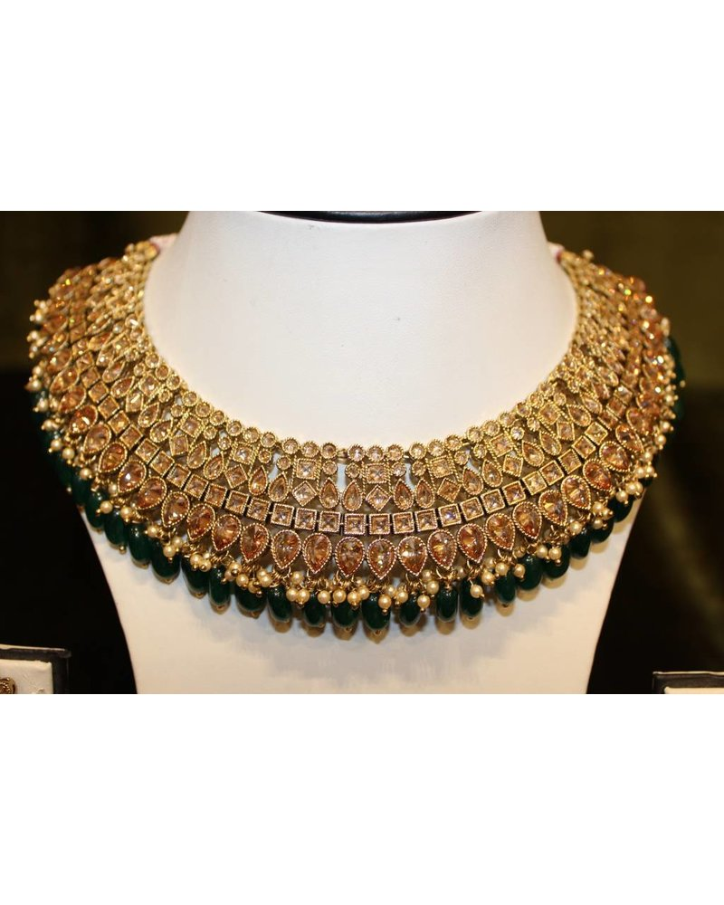 Green and Gold Necklace Set with zumka earrings