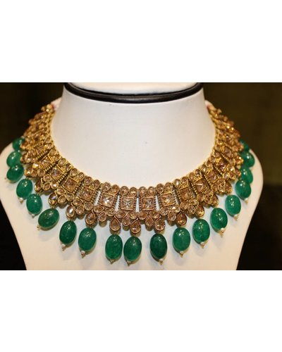 Gold and Green Drop Necklace Set