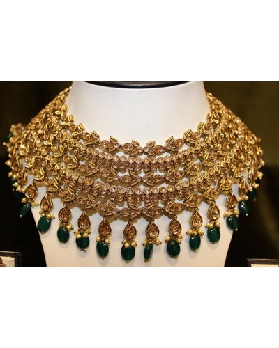 Gold and Green Necklace Set w/ star tikka