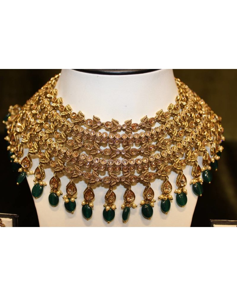 Gold and Green Necklace Set with star tikka