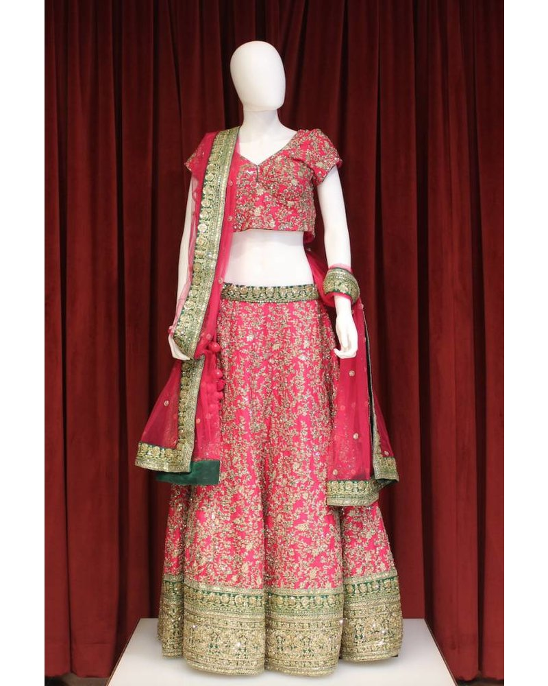 Bridal Pink Lehenga w/ sequence and threadwork on silk