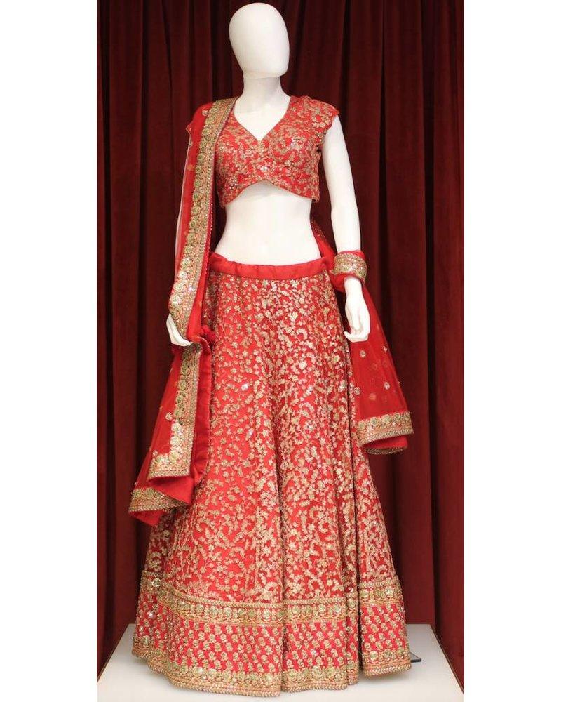 Bridal Red Lehenga w/ sequence work on silk