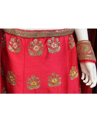 Bridal Red Lehenga w/ threadwork and sequence on silk