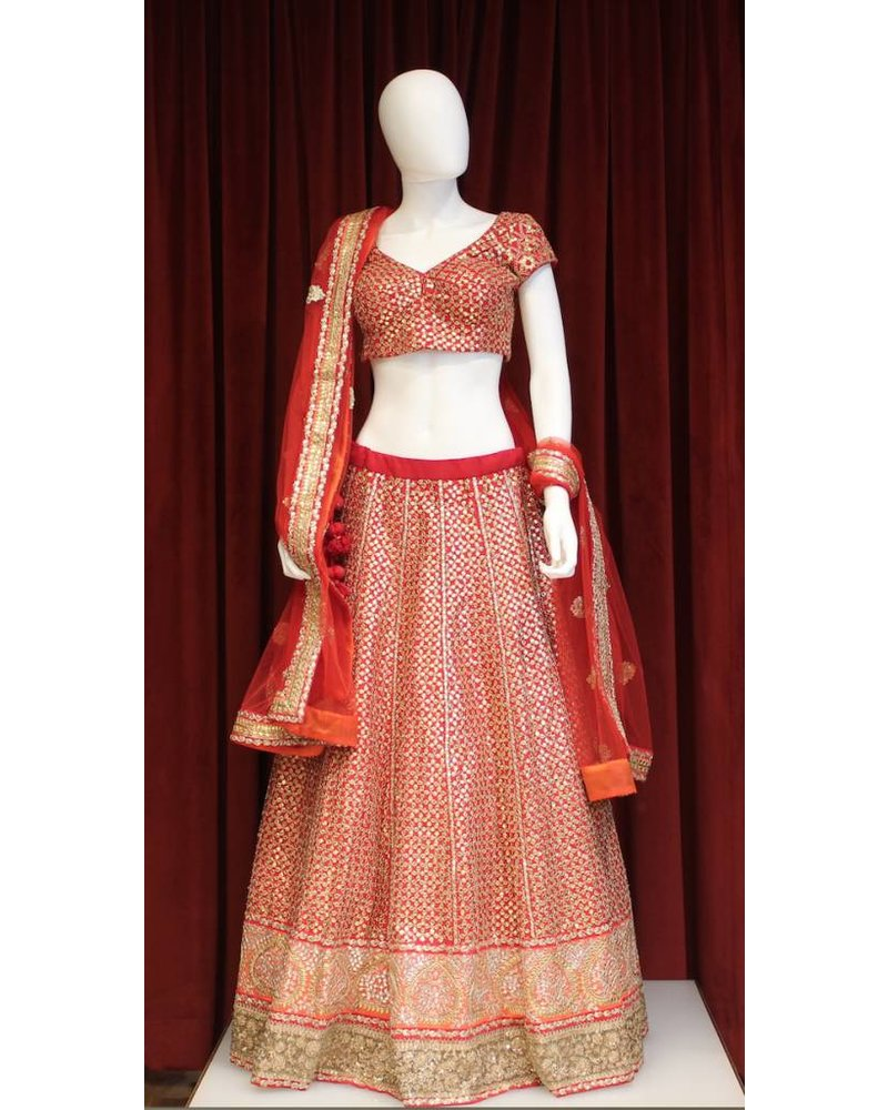 Bridal Red and Orange Lehenga