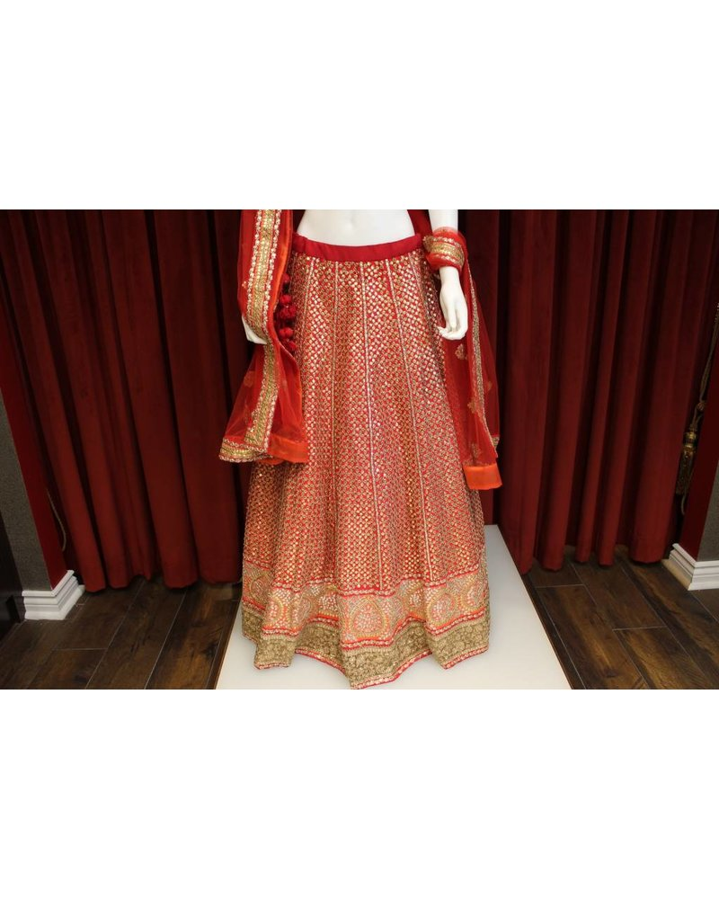 Bridal Red and Orange Lehenga w/ sequence work on silk