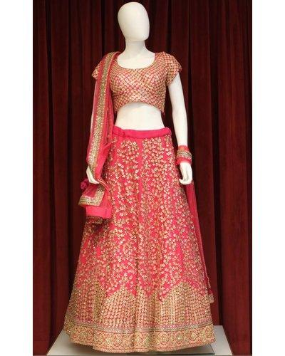 Bridal Pink Lehenga w/ Sequence work on silk