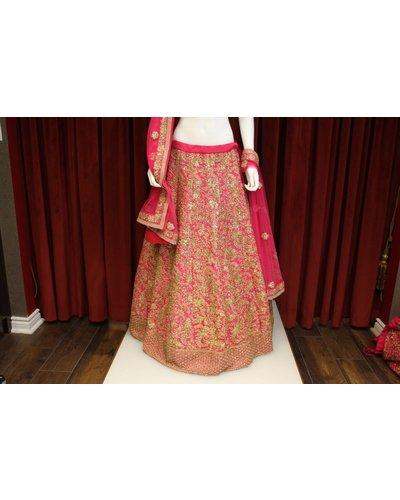 Bridal Pink Lehenga w/ sequence and threadwork on silk