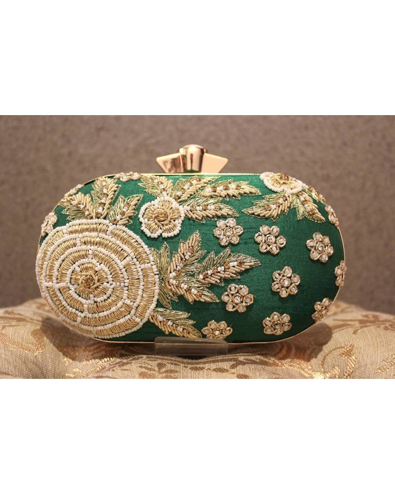 Green Purse with Flowers