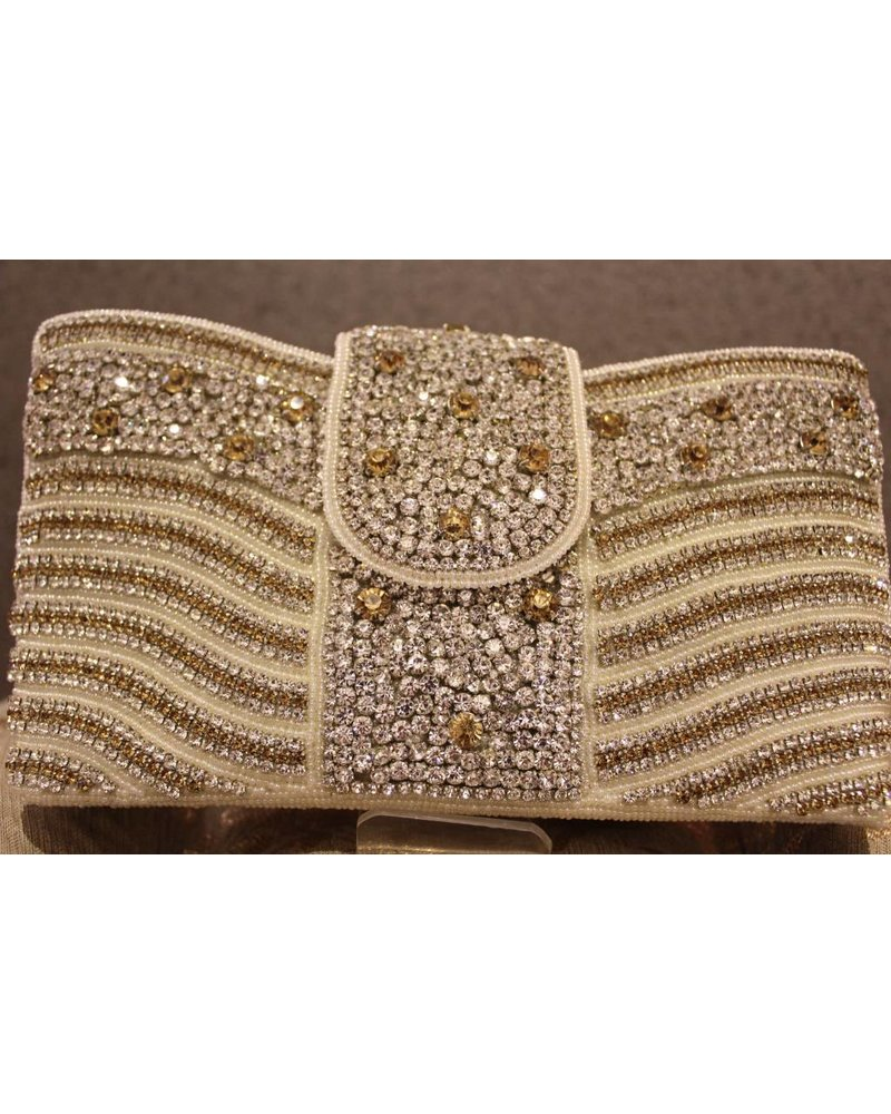 Silver Purse w/ gold dots and stripes