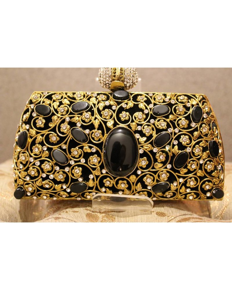 Black Purse with gold flowers