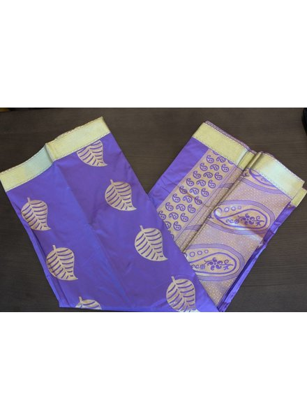 Purple and Gold Artsilk Saree