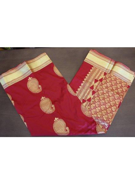 Red and Gold Artsilk Saree