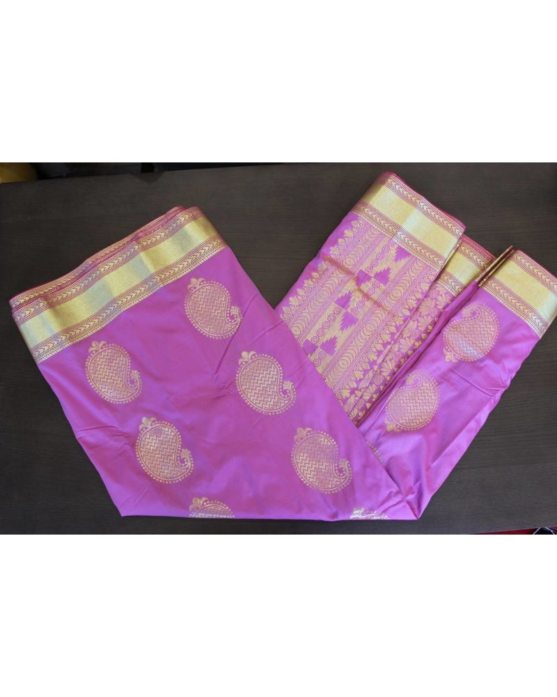 Light Purple and Gold Artsilk Saree