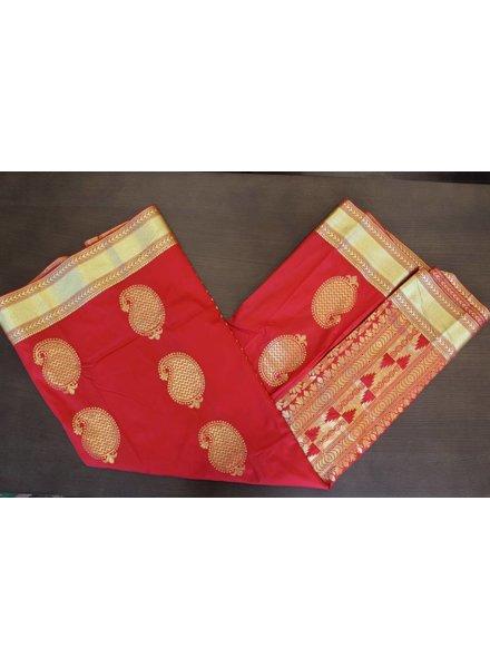 Bright Red and Gold Artsilk Saree