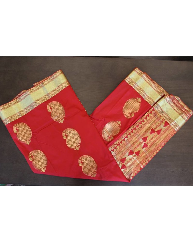 Bright Red and Gold Artsilk Saree