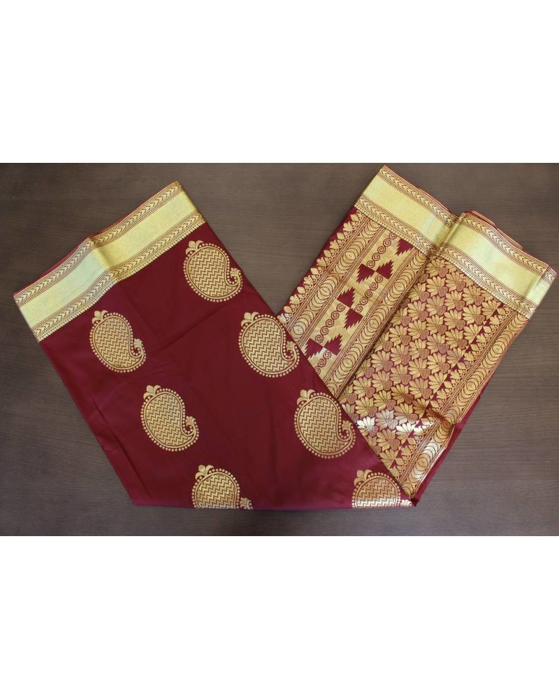 Dark Red and Gold Artsilk Saree
