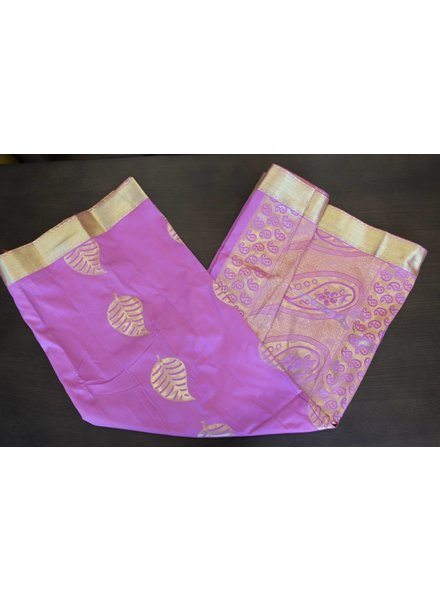 Light Purple and Gold Artsilk Saree