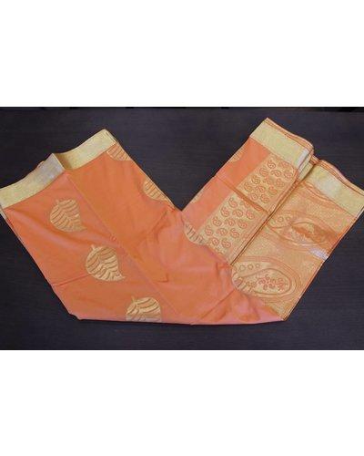 Orange and Gold Artsilk Saree