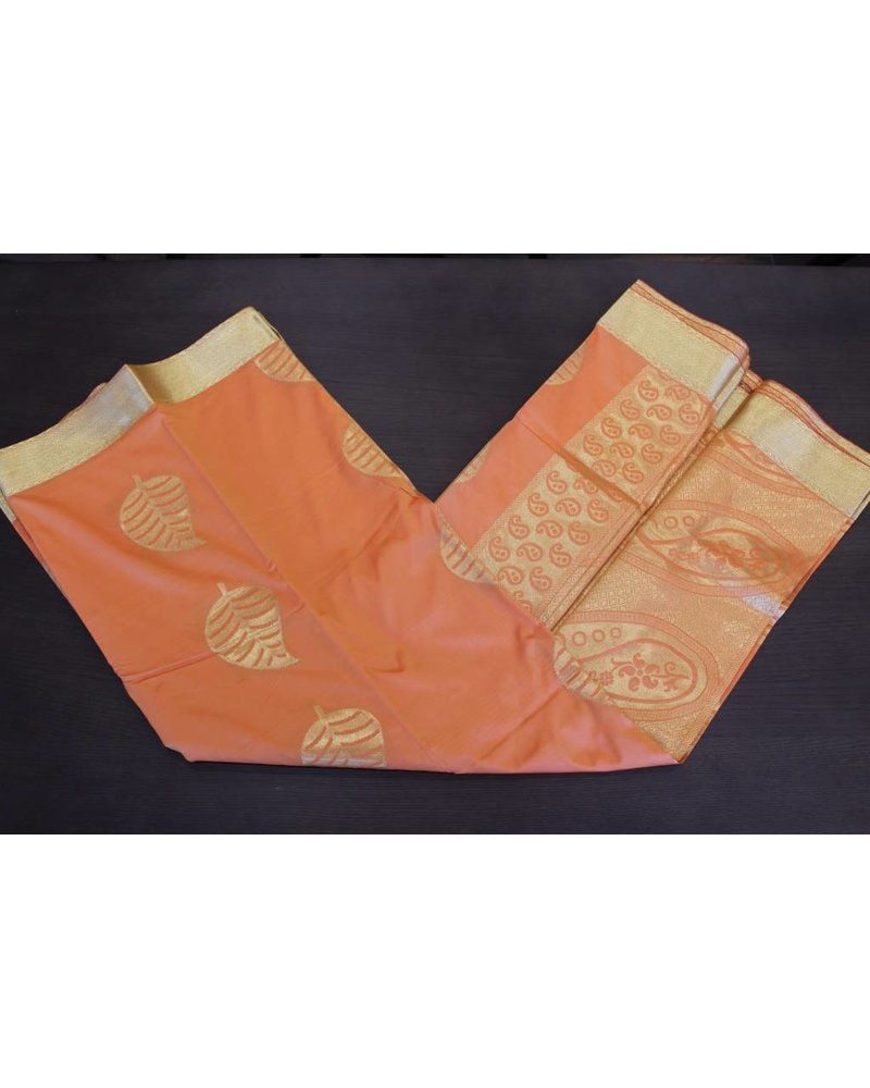 Orange and Gold Artsilk Saree