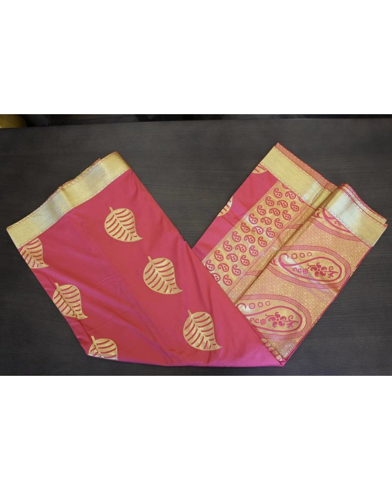 Red and Gold Artsilk Saree