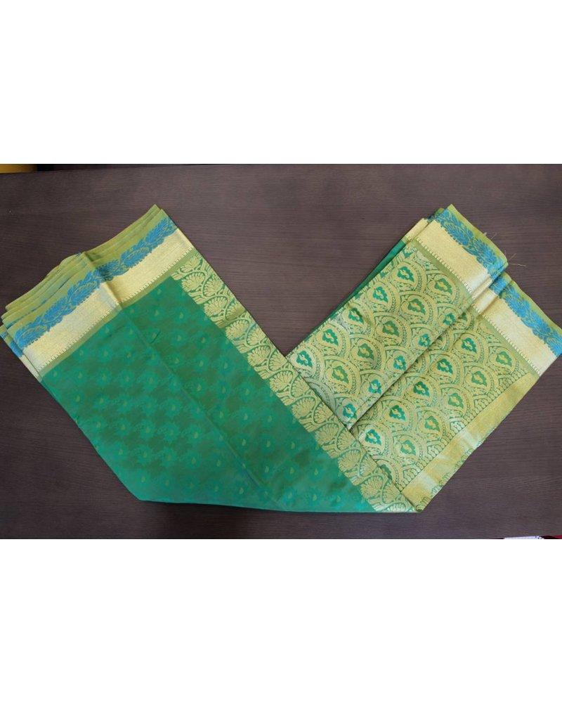 Green and Gold Artsilk Saree