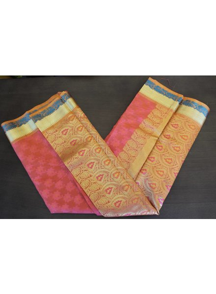 Pink and Orange Artsilk Saree