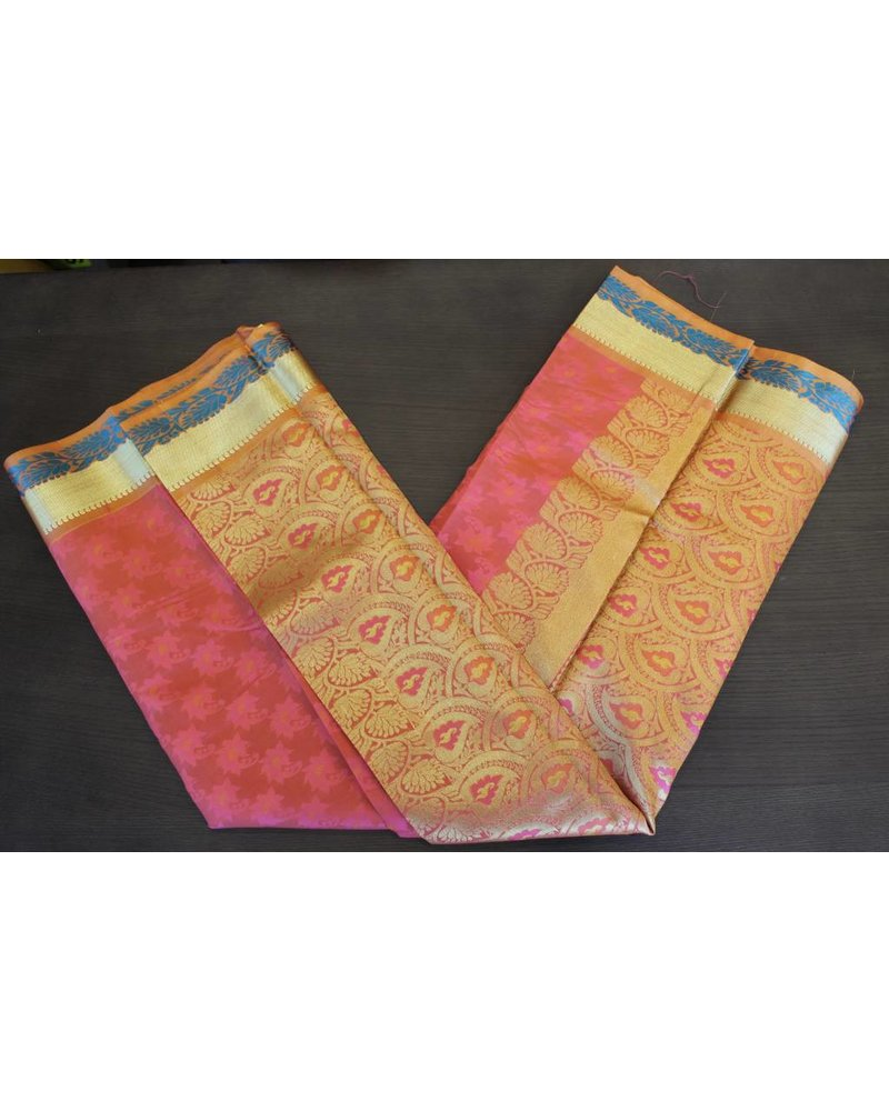 Pink and Orange Artsilk Saree