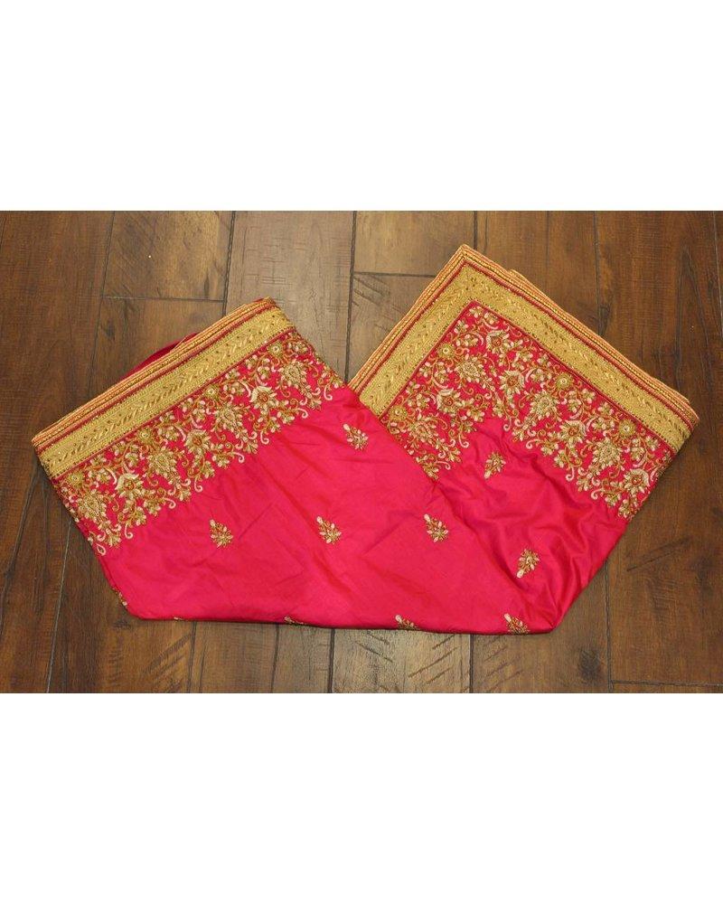 Pink Flower Silk Saree