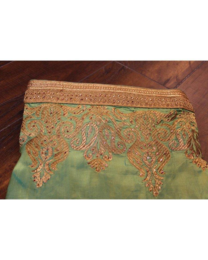 Green and Gold Silk Saree