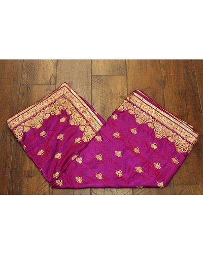 Purple Mirror Silk Saree