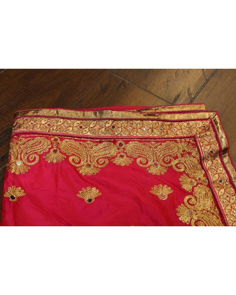 Pink Mirror Silk Saree