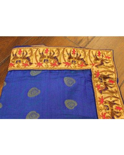Blue Silk Saree w/ Camel Border