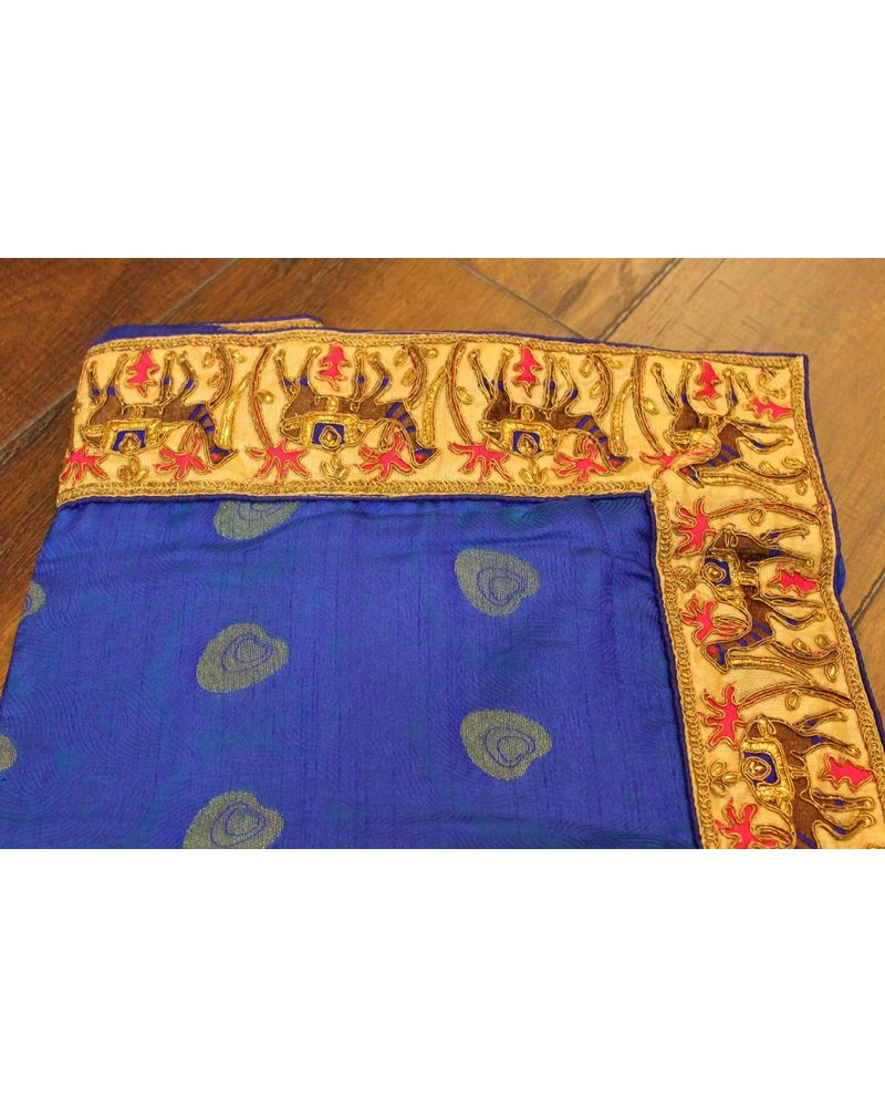 Blue Silk Saree w/ Camel Border