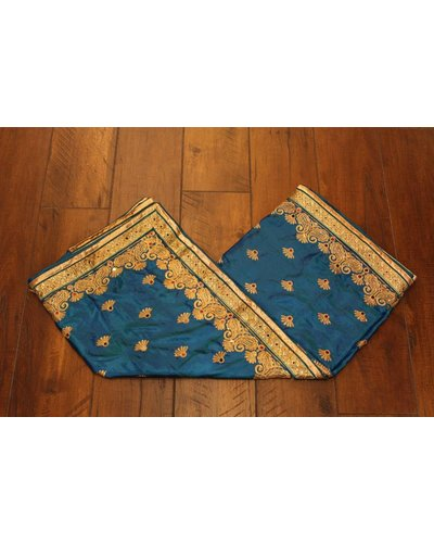 Blue Mirror Silk Saree
