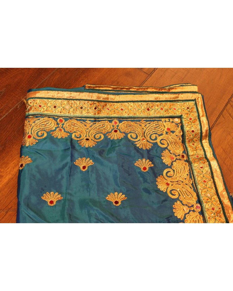 Blue Mirror Silk Saree