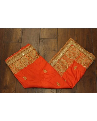 Orange Pearl Silk Saree