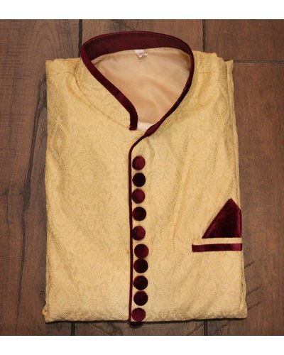 Gold Kurta w/ velvet buttons