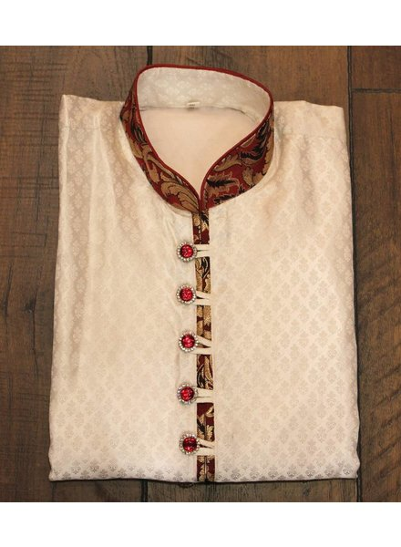 White and Red Kurta