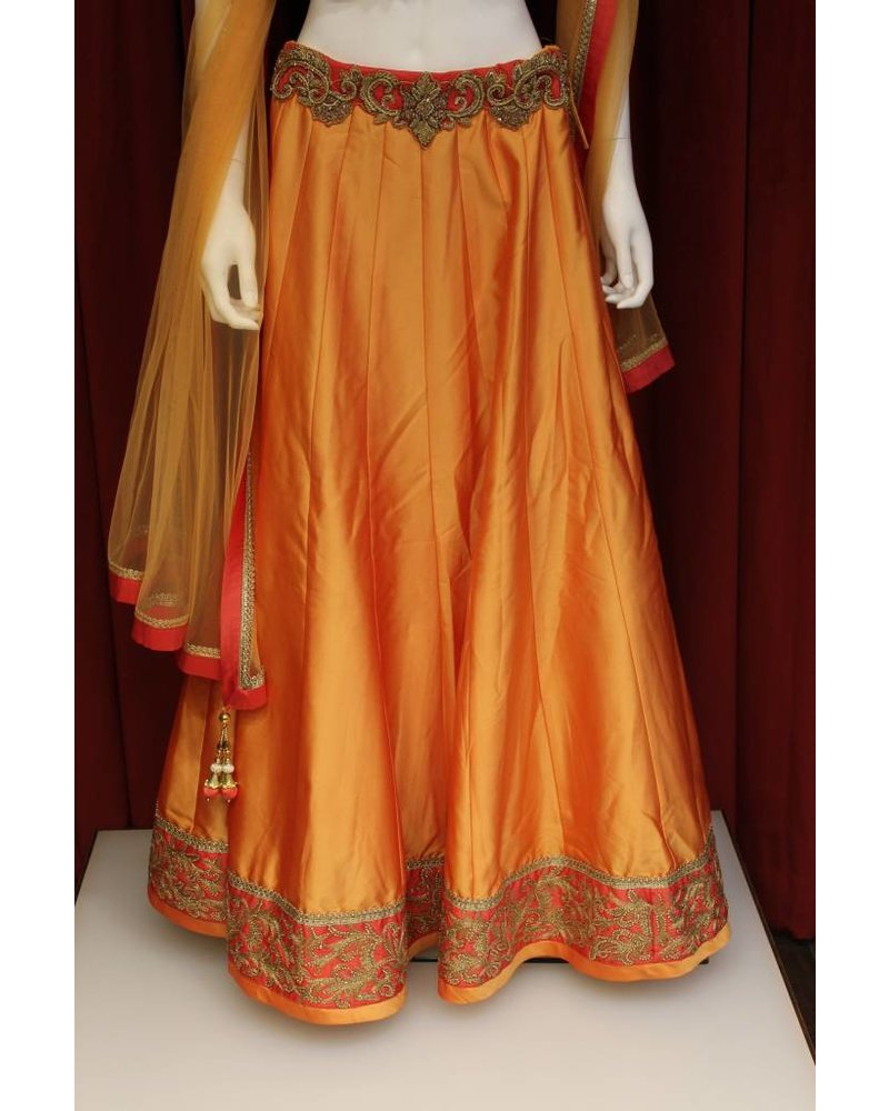Party Wear Orange Lehenga