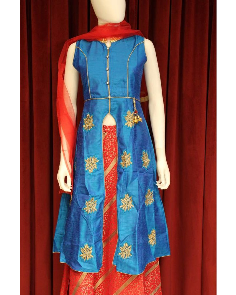 Party Wear Blue and Red Laacha