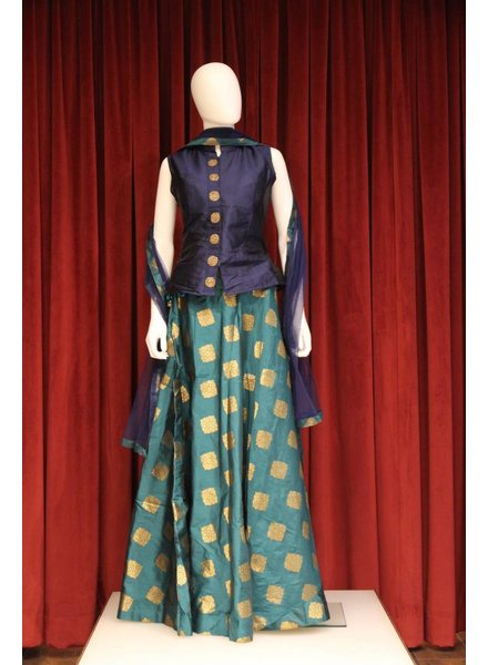 Party Wear Blue and Green Lehenga